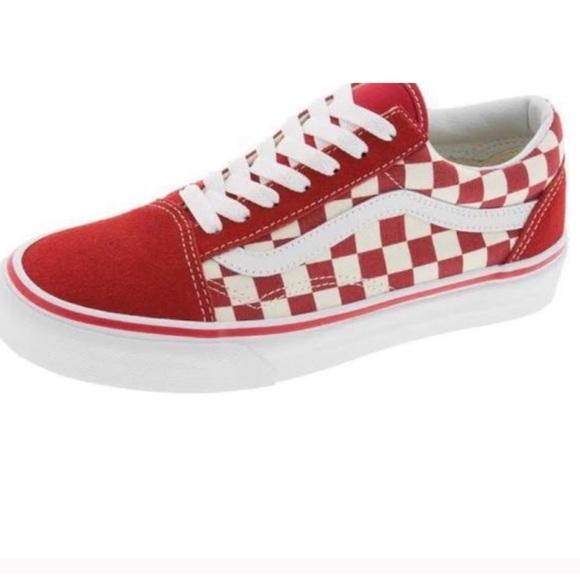 checkerboard vans red
